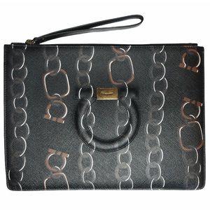 SALVATORE FERRAGAMO Chain Print Leather Pouch NWT